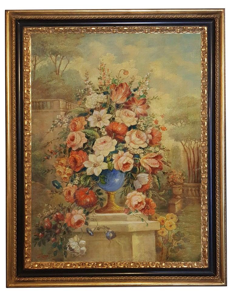 Vittorio Landi Still-Life Painting - FLOWERS- In the Manner of  Gasparo Lopez dei Fiori - Neapolitan School - Paint
