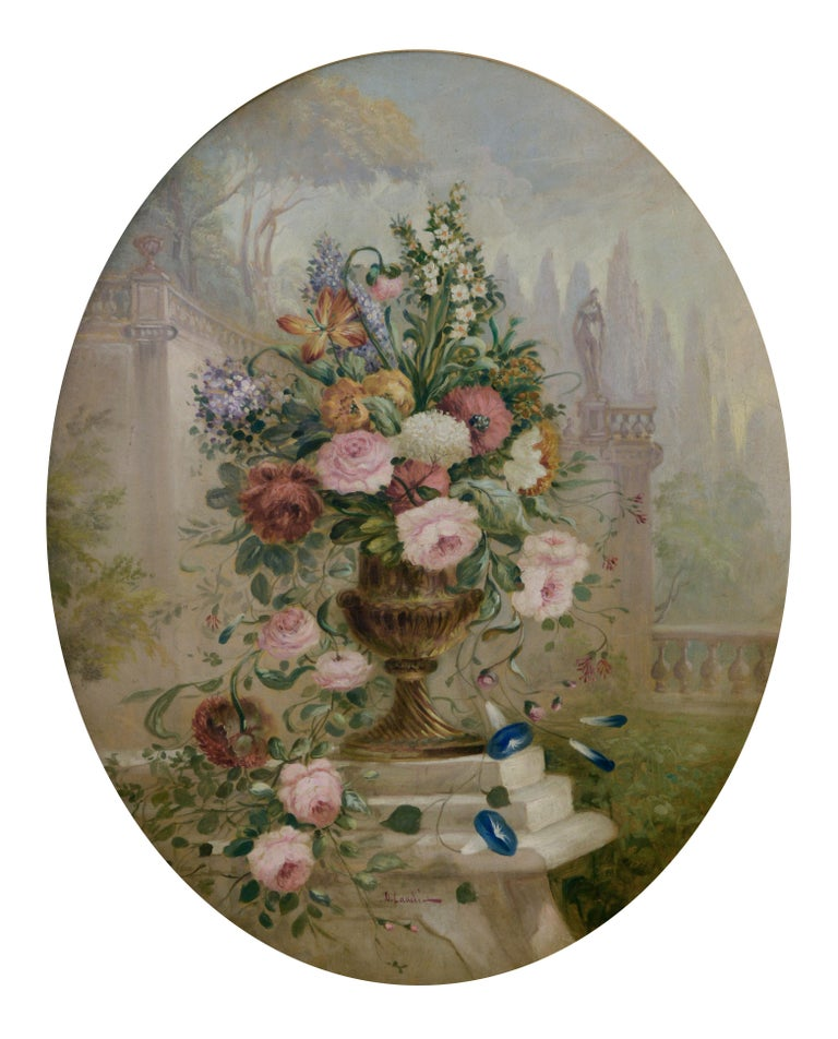 FLOWERS - Italian School -  Still Life Oil on Canvas Painting  - Brown Still-Life Painting by Vittorio Landi