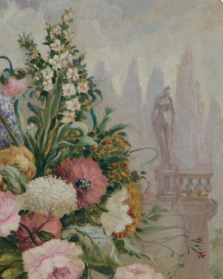 FLOWERS - Italian School -  Still Life Oil on Canvas Painting  For Sale 1