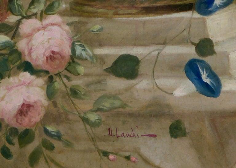 FLOWERS - Italian School -  Still Life Oil on Canvas Painting  For Sale 2