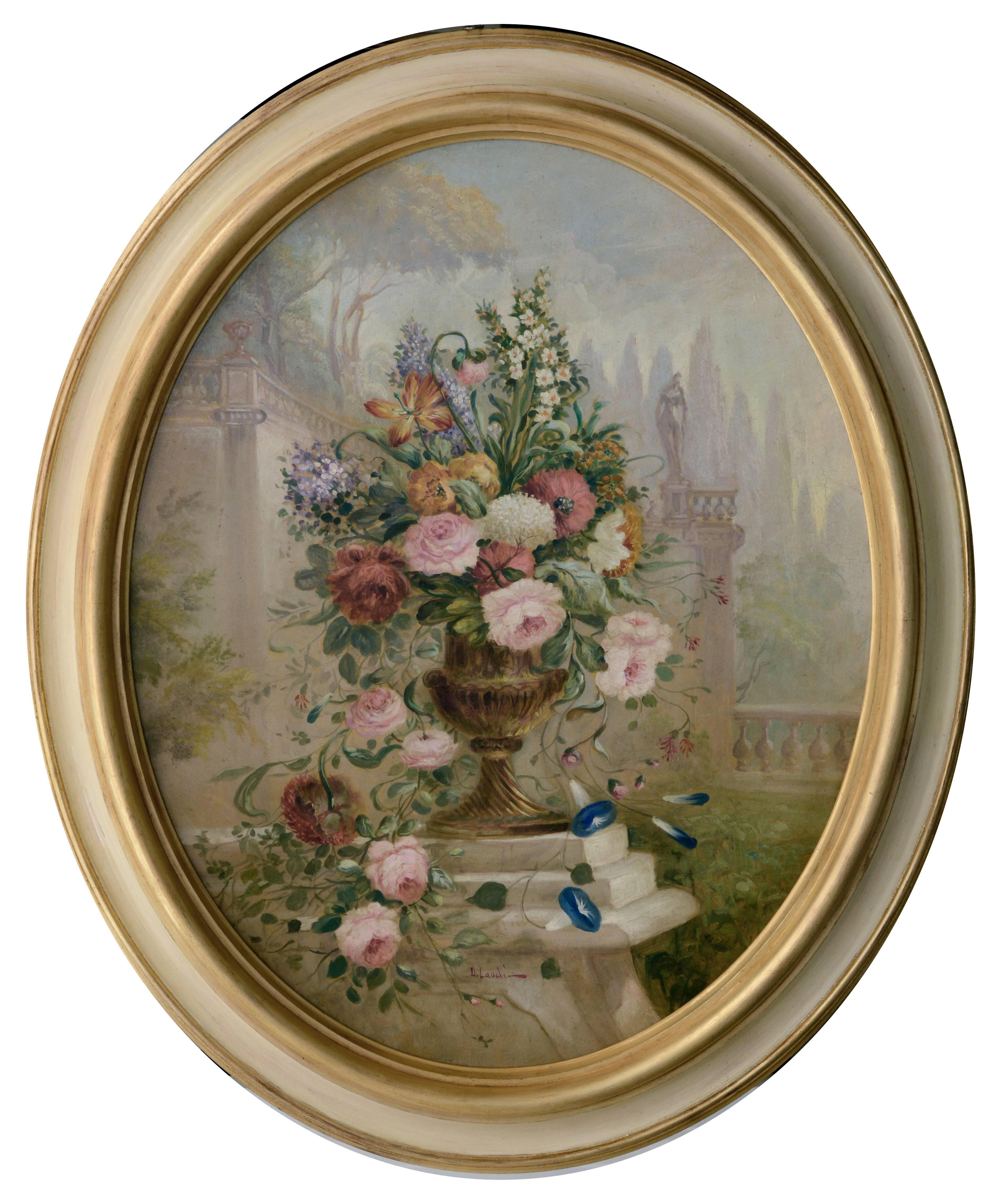 FLOWERS - Italian School -  Still Life Oil on Canvas Painting