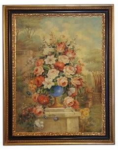 Flowers - Vittorio Landi Italian still life Oil on Canvas Painting