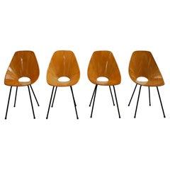 "Vittorio Mobili ""Medea"" 1950s Italian Set of Four Chairs"