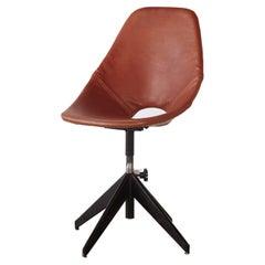Vittorio Nobili for Fratelli Tagliabue Medea Leather Desk Chair, Italy, 1950s
