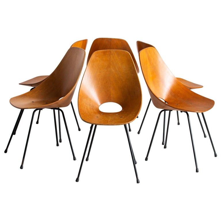 "Vittorio Nobili ""Medea"" Wood and Metal Italian Chairs, 1950s For Sale"