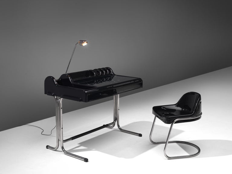 Vittorio Parigi & Nani Prina, 'Orix' desk with chair, polyester and chromed steel, Italy, 1970