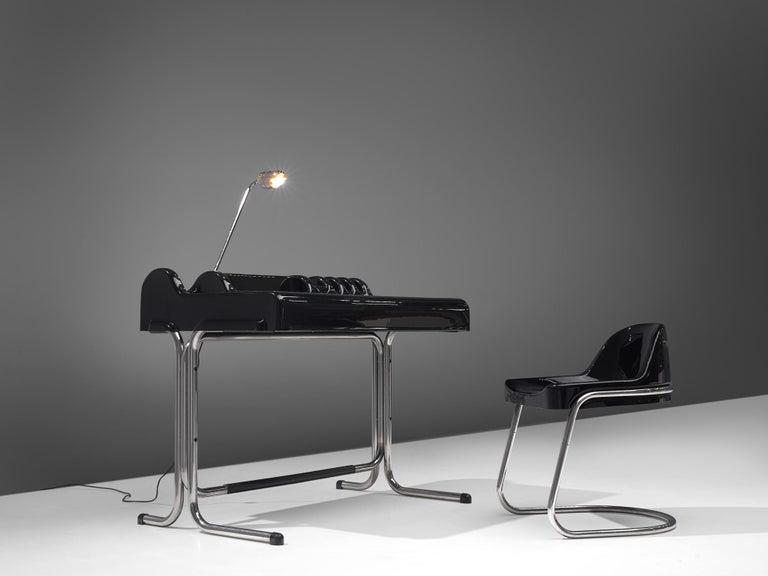 Post-Modern Vittorio Parigi & Nani Prina Black 'Orix 'Desk with Chair, 1970