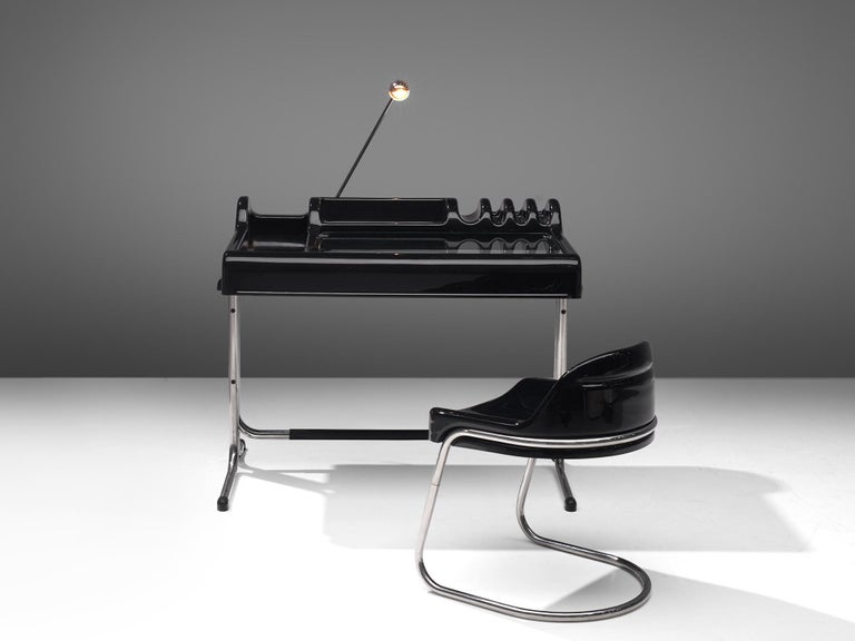 Italian Vittorio Parigi & Nani Prina Black 'Orix 'Desk with Chair, 1970