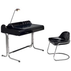 Vittorio Parigi & Nani Prina Black 'Orix 'Desk with Chair, 1970