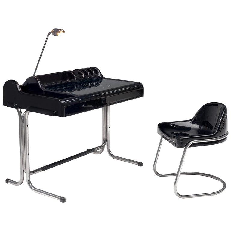 Vittorio Parigi & Nani Prina Black 'Orix 'Desk with Chair, 1970