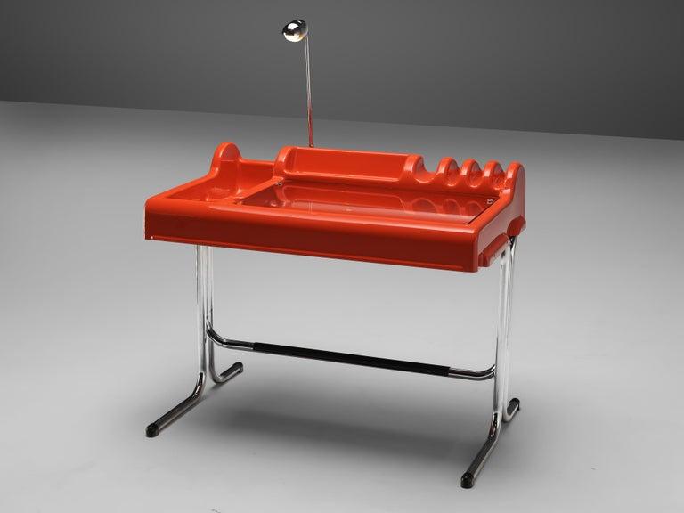 Italian Vittorio Parigi & Nani Prina Red 'Orix' Desk with Lamp For Sale