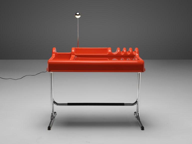 Vittorio Parigi & Nani Prina Red 'Orix' Desk with Lamp For Sale 1