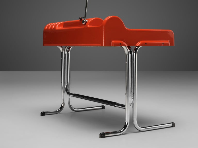 Vittorio Parigi & Nani Prina Red 'Orix' Desk with Lamp For Sale 2