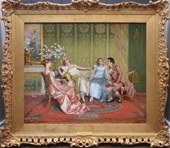 Casanova - 19th Century Oil Painting of Three Young Parisian Beauties & Lothario