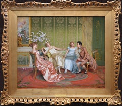 Casanova - 19th Century Oil Painting of Three Young Parisian Beauties & Lothario