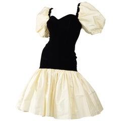 Vittorio Rosato for Harvey Nichols Black Velvet & Ivory Silk Evening Dress