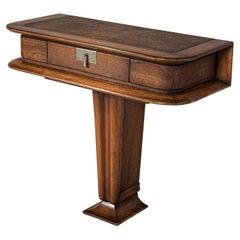 Vittorio Valabrega Console with Drawer in Leather and Walnut