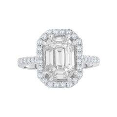 18 Karat White Gold Emerald Cut Brilliant Diamond Engagement Ring