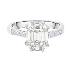 Viva Collection 18 Karat White Gold Pie Cut 3ct Look Diamond Engagement Ring
