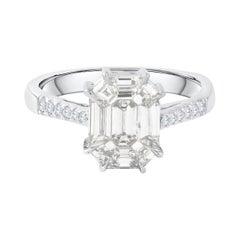 18 Karat White Gold Emerald Cut Diamond Engagement Ring