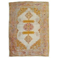 Vivacious 19th Century Angora Wool Oushak Rug