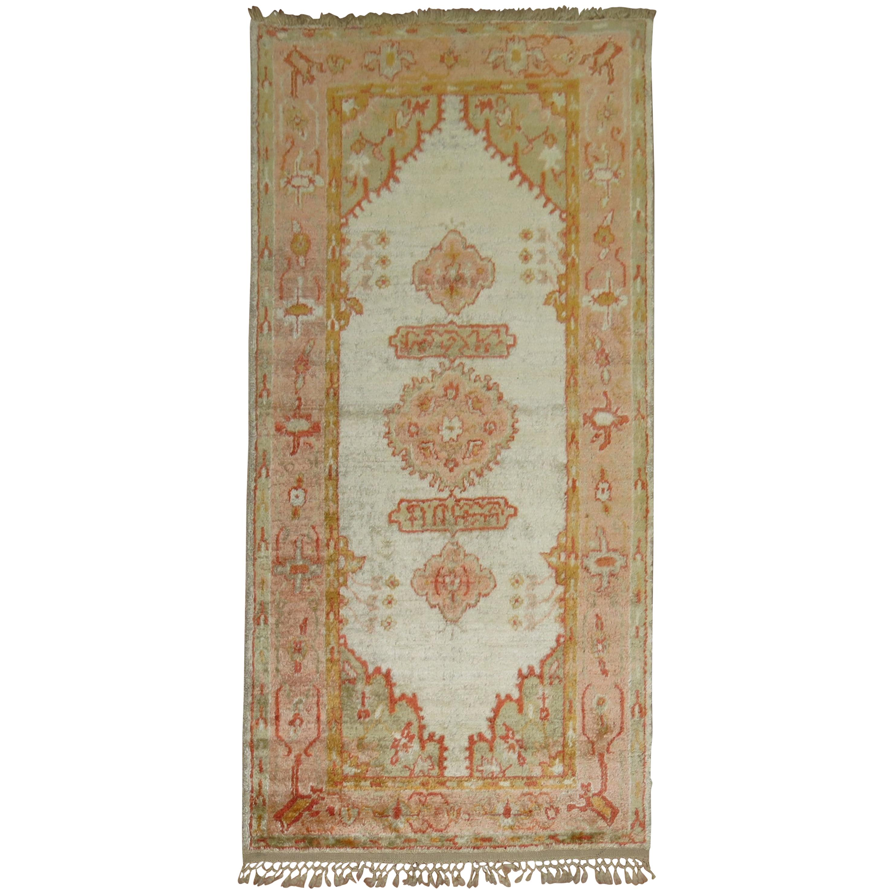 Vivacious Early 20th Century Angora Wool Oushak Rug