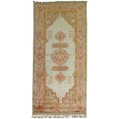 Vivacious Early 20th Century Angora Wool Oushak Rug