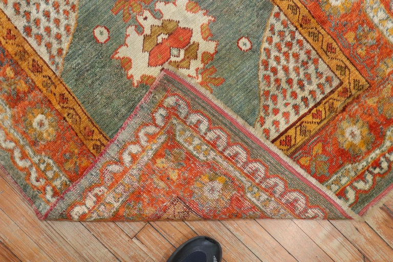 Early 20th century authentic Angora Oushak Square Scatter rug   Measures: 3'3'' x 3'9''  Oushak rugs are prized for their rich looks as well as for their high quality and exceptional beauty, which makes them excellent decorative pieces. The ones