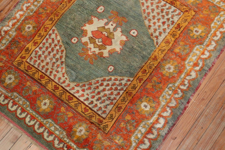 Hollywood Regency Vivacious Green Pumpkin Early 20th Century Angora Wool Square Oushak Rug For Sale