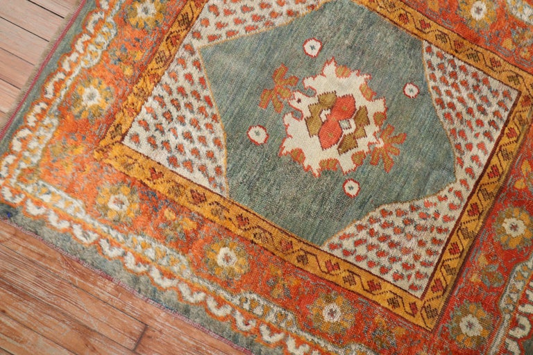 Hand-Woven Vivacious Green Pumpkin Early 20th Century Angora Wool Square Oushak Rug For Sale