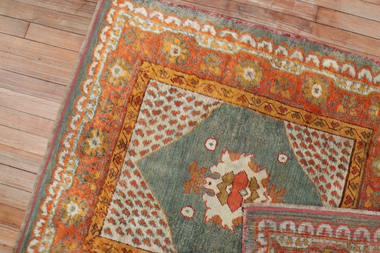Vivacious Green Pumpkin Early 20th Century Angora Wool Square Oushak Rug In Good Condition For Sale In New York, NY