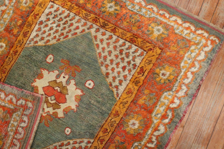 Vivacious Green Pumpkin Early 20th Century Angora Wool Square Oushak Rug For Sale 1