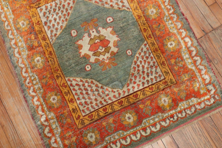 Vivacious Green Pumpkin Early 20th Century Angora Wool Square Oushak Rug For Sale 2