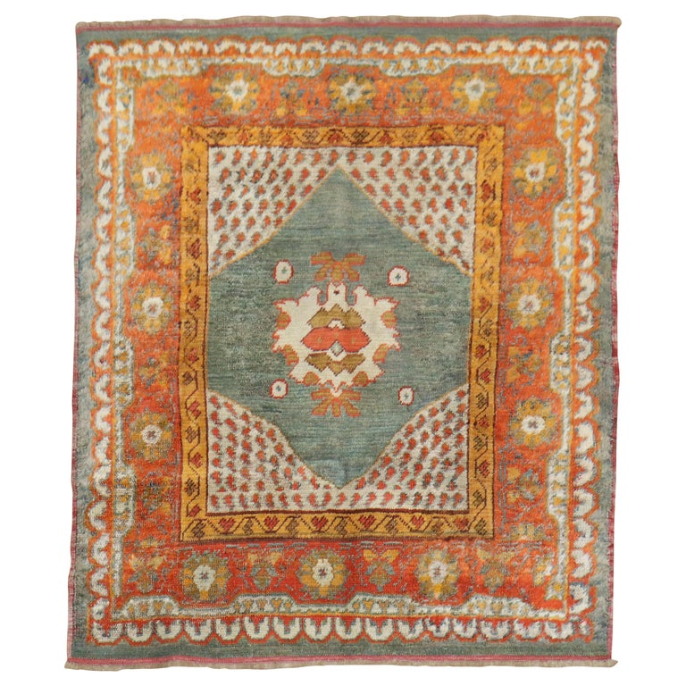 Vivacious Green Pumpkin Early 20th Century Angora Wool Square Oushak Rug For Sale