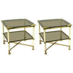 Vivai del Sud 1970s Rare Pair of Smoked Glass and Ivory Brass Side Tables