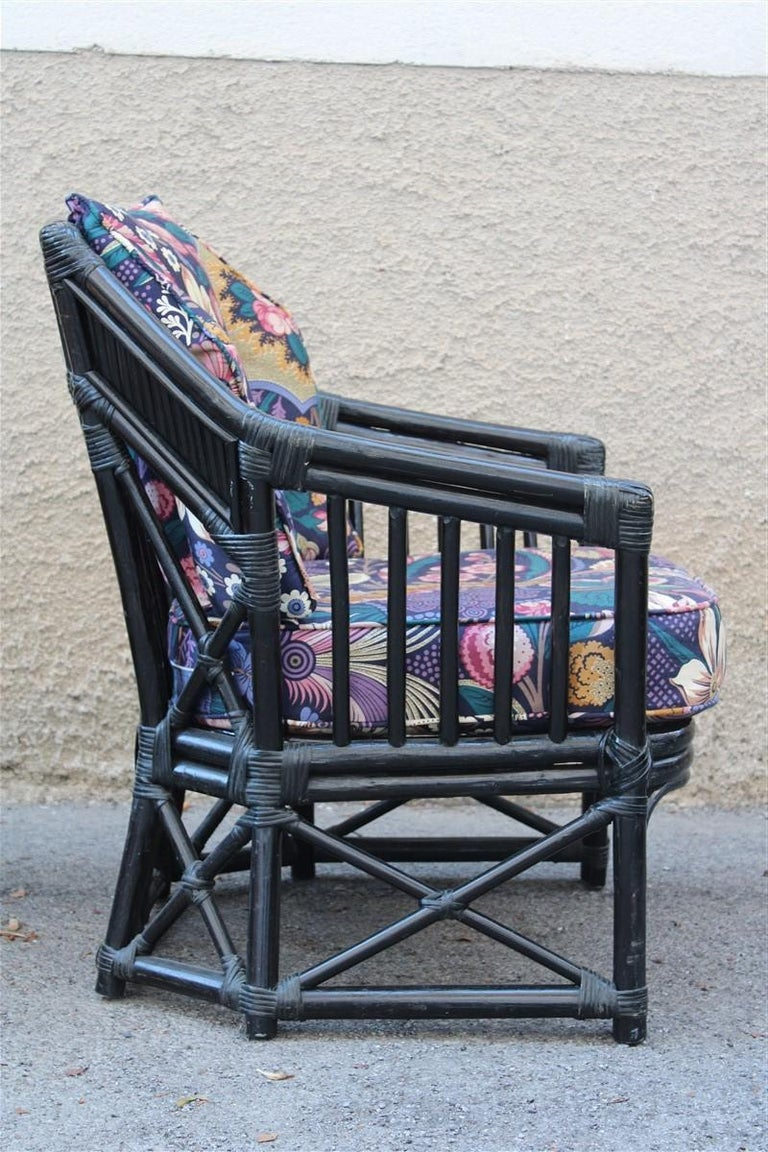 Vivai del Sud armchair Italian design 1970 bamboo black flowers multi-color.