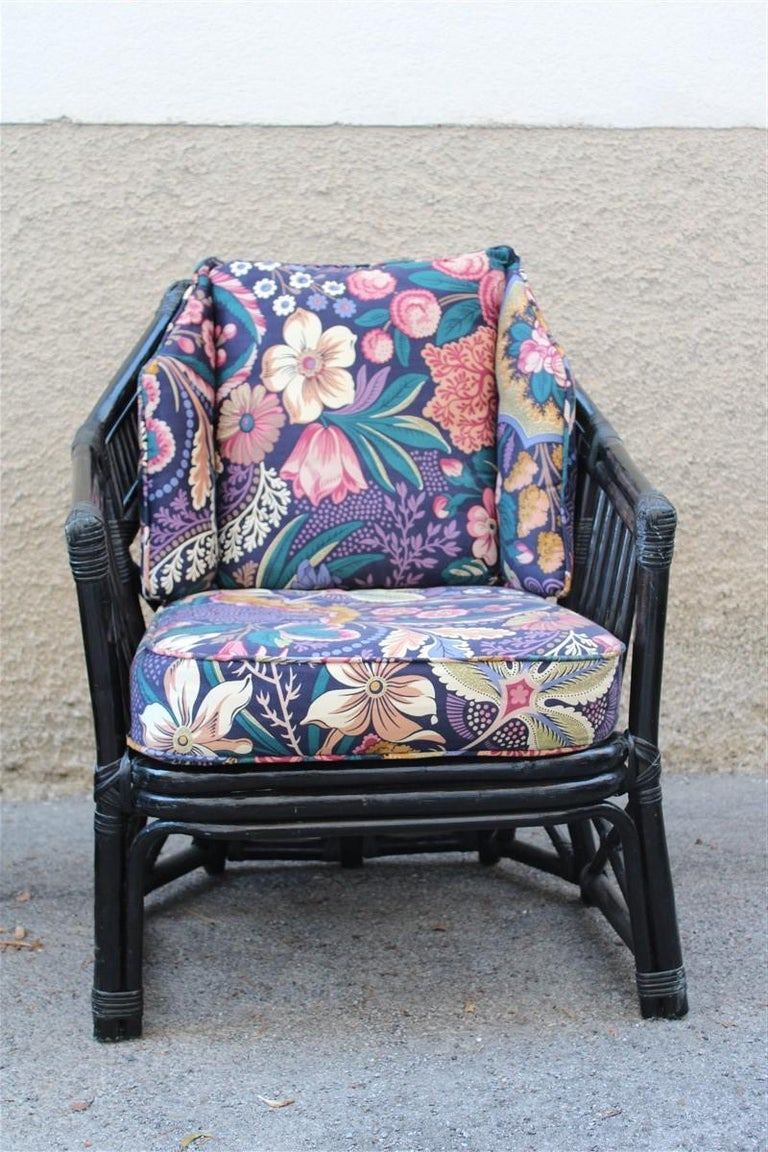Vivai del Sud Armchair Italian Design 1970 Bamboo Black Flowers Multi-Color For Sale 1
