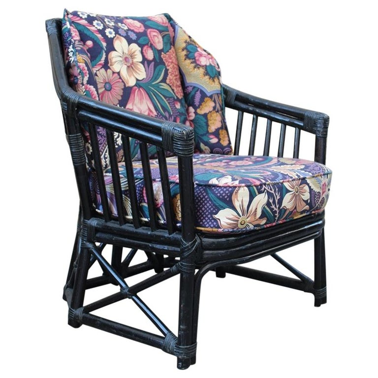 Vivai del Sud Armchair Italian Design 1970 Bamboo Black Flowers Multi-Color For Sale