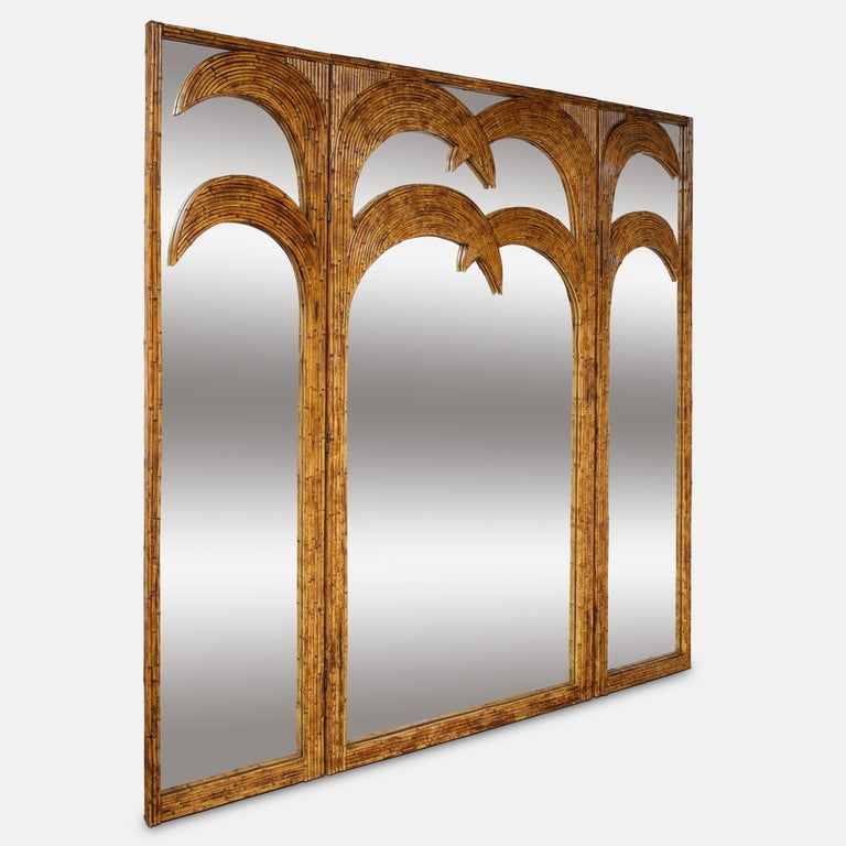 Mid-Century Modern Vivai del Sud Bamboo Mirrored Screen For Sale
