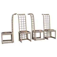 Vivai del Sud Chairs High Back in White Bamboo Italian Design, 1970
