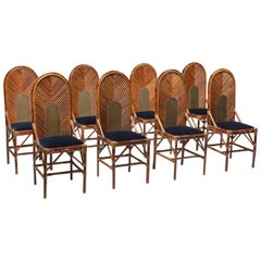 Vivai del Sud Dining Chairs in Bamboo, Brass and Blue Velvet