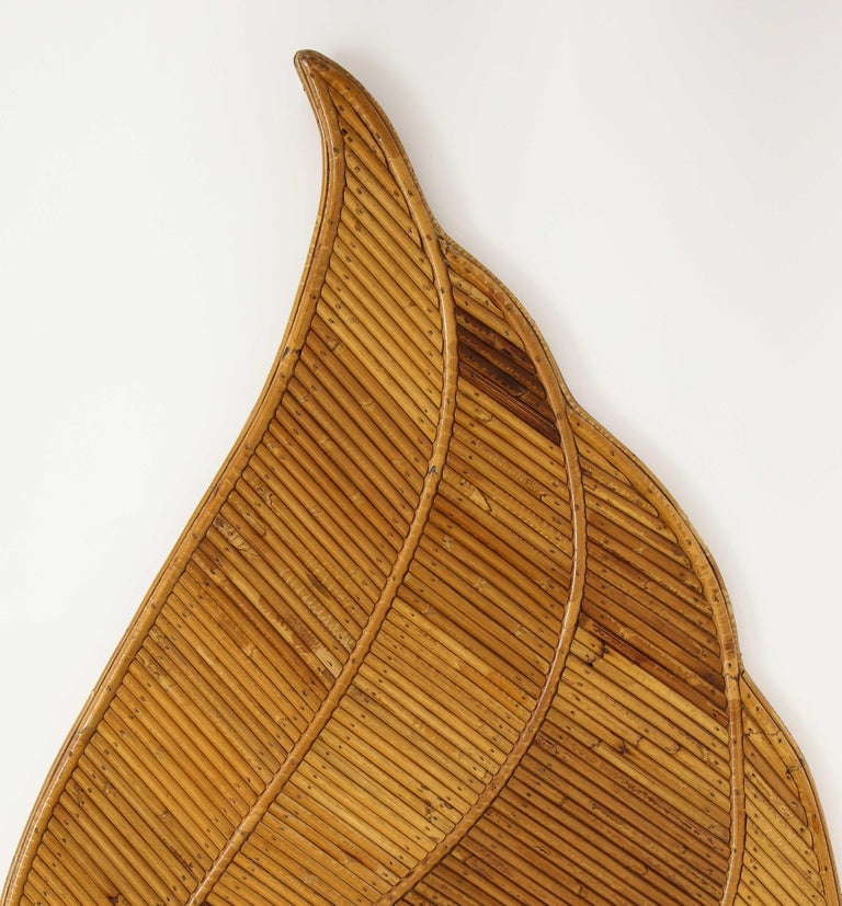 Mid-Century Modern Vivai del Sud Bamboo Leaf Mirror, Italy, 1970s For Sale
