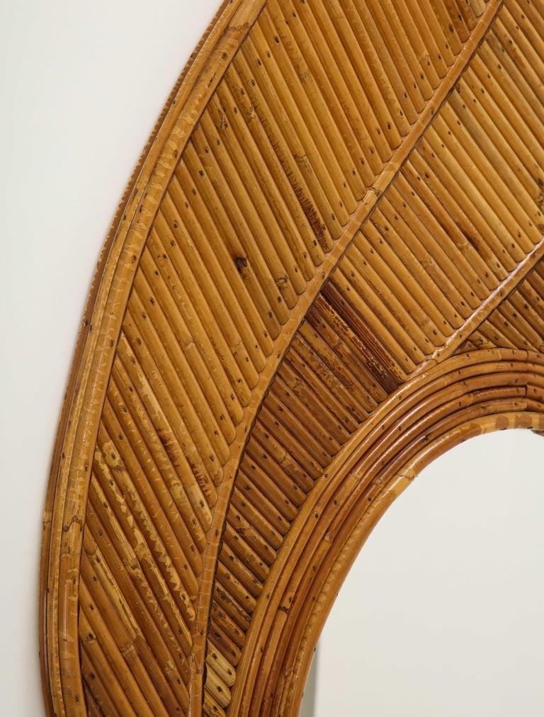 European Vivai del Sud Bamboo Leaf Mirror, Italy, 1970s For Sale