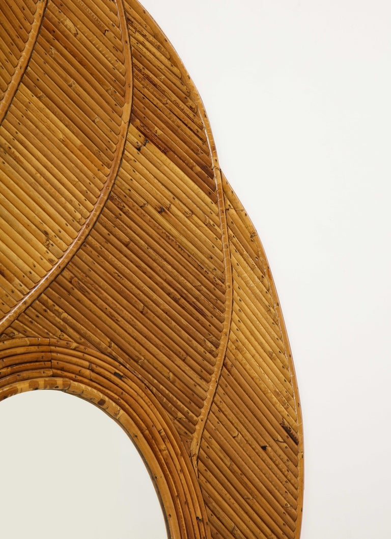 Hand-Crafted Vivai del Sud Bamboo Leaf Mirror, Italy, 1970s For Sale