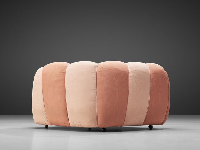 Italian Vivai del Sud Lounge Chair in Pink Fabric Upholstery For Sale
