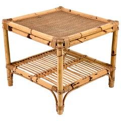 Vivai del Sud Mid-Century Modern Italian Bamboo Squared Coffee Table, 1970s