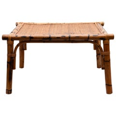 Vivai del Sud Midcentury Italian Squared Bamboo and Rattan Coffee Table, 1970s