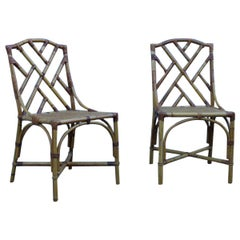 Vivai del Sud Pair of Midcentury Chairs Solid Bamboo Italian Design, 1960s