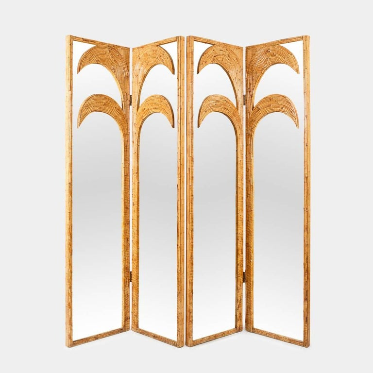 Vivai del Sud pair of bamboo inlayed palm tree motif mirrored screens from the 'Parma' series, Italy, 1970s. The pair of panels can also be used as a four-panel screen with additional hinges upon request. These panels are expertly and exquisitely