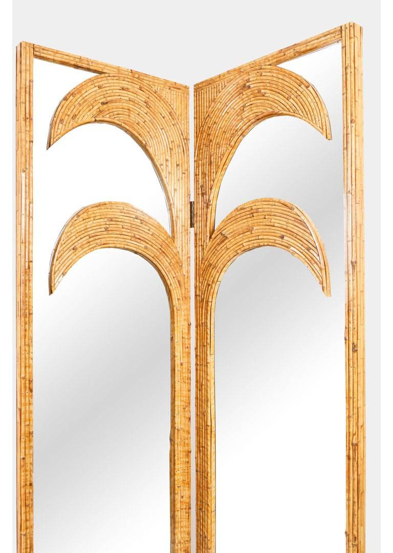Mid-Century Modern Vivai del Sud Pair of Bamboo Mirrored Panels or Four-Panel Screen For Sale